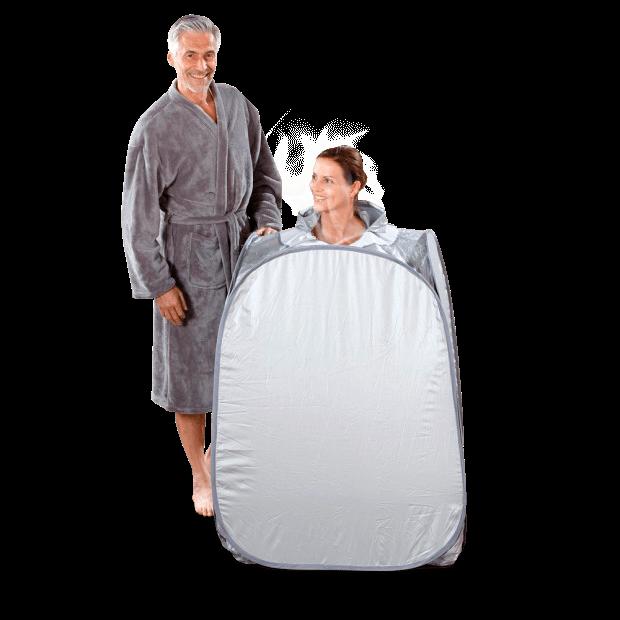 Sauna portatil a vapor 850w en uso